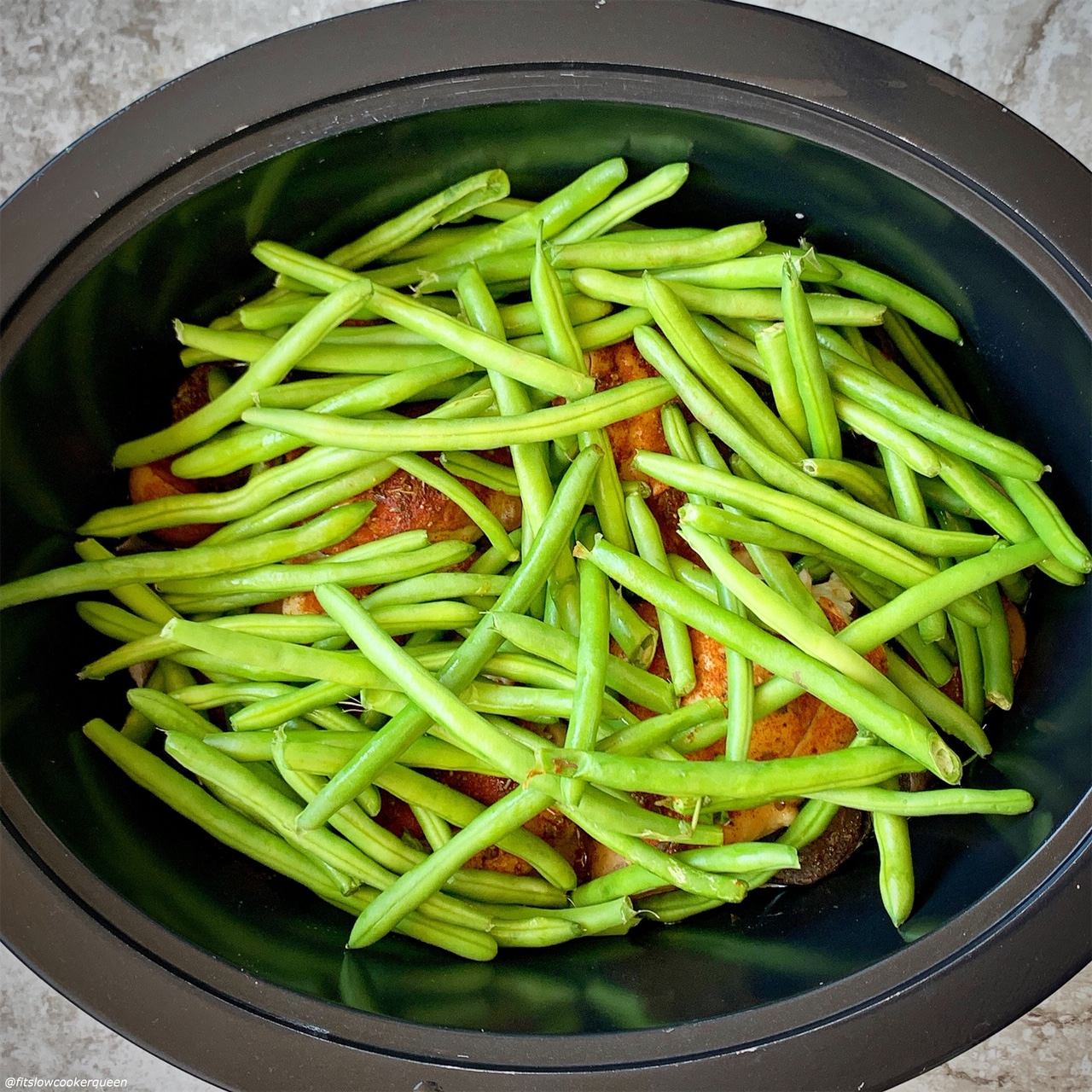 adding green beans to slow cooker for the recipe slow cooker or instant pot rotisserie chicken dinner