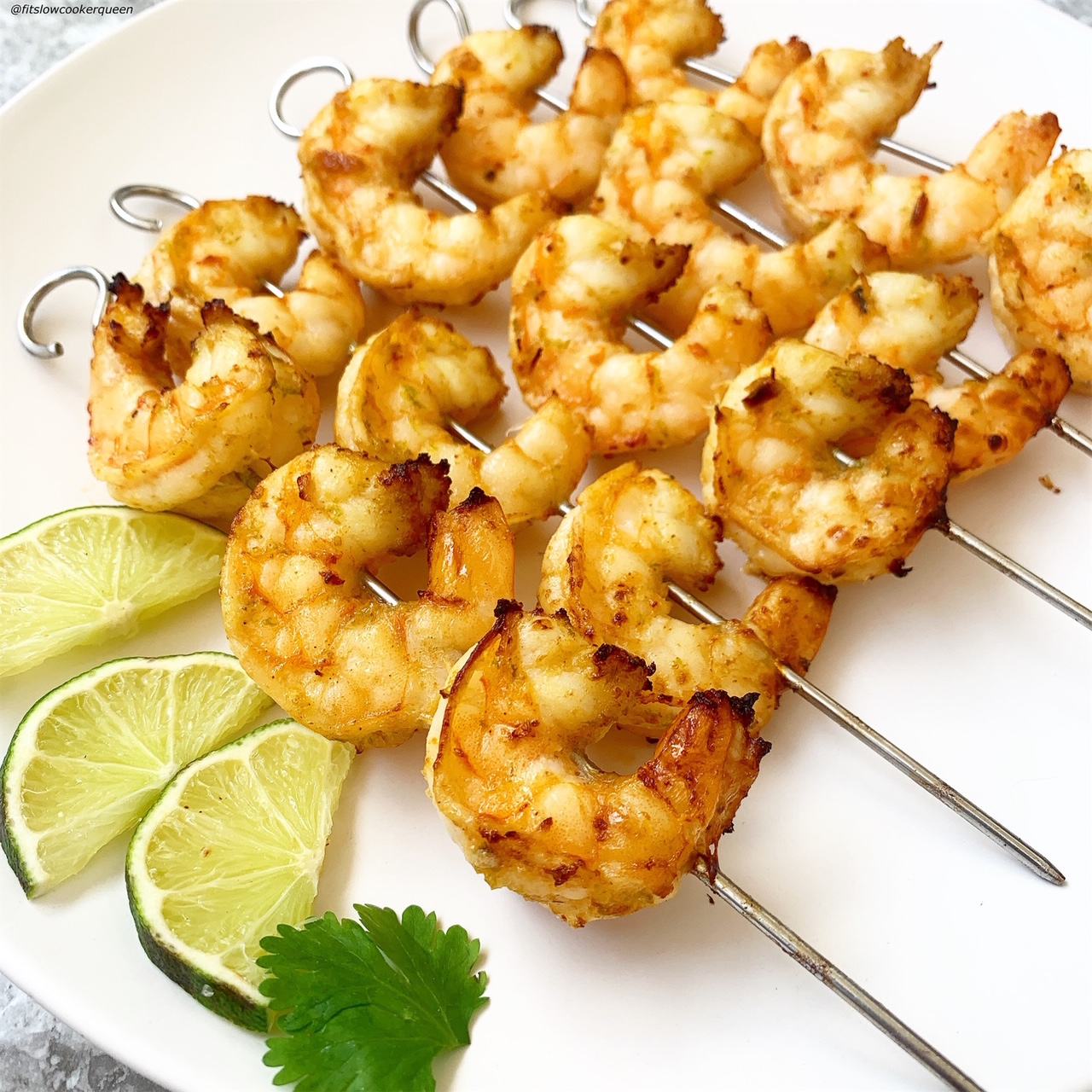 plated pic of cooked shrimp skewers
