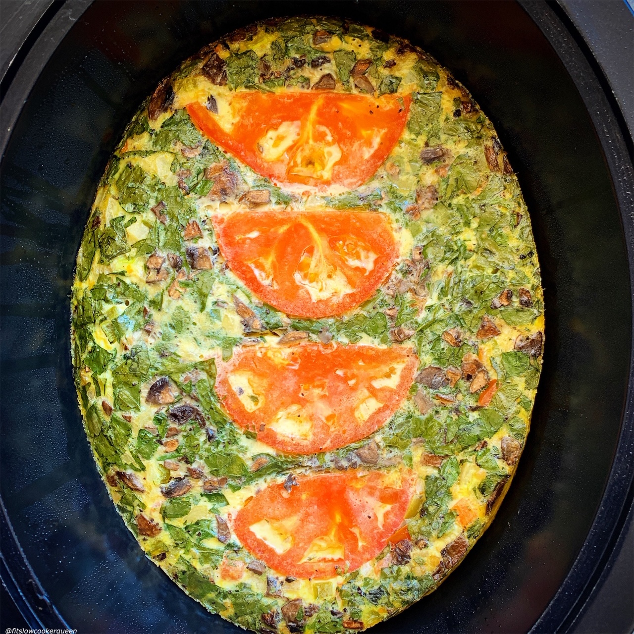 cooked meat & veggie frittata in the slow cooker for {VIDEO} Slow Cooker Meat & Vegetable Frittata (Low-Carb, Paleo, Whole30)