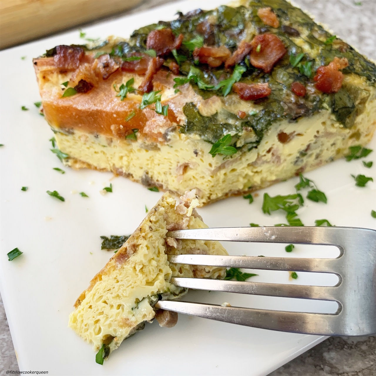 plated pic of {VIDEO} Slow Cooker Meat & Vegetable Frittata (Low-Carb, Paleo, Whole30)