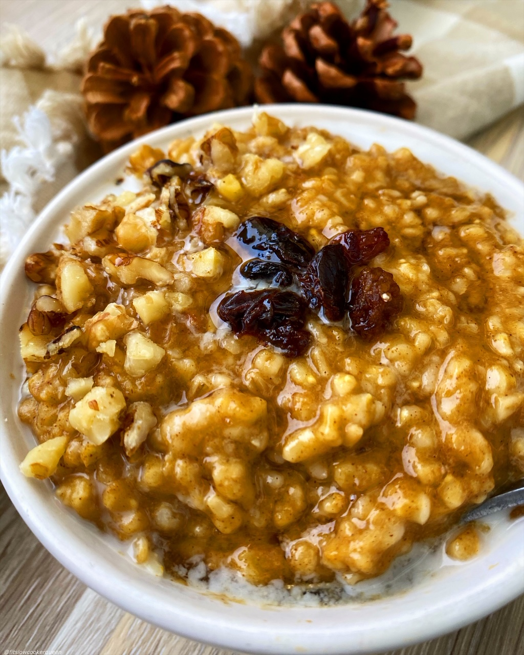 side, close up view of pumpkin oatmeal in a white bowl with raisins on top and almond milk