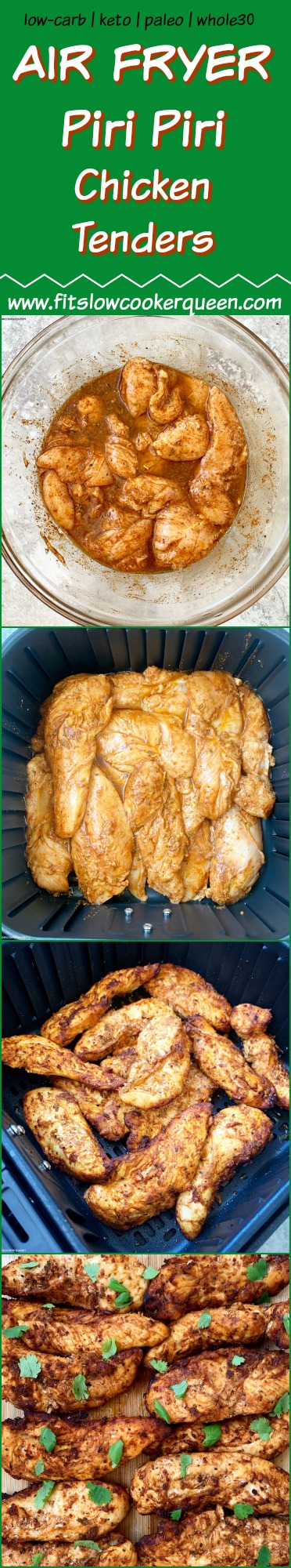 another Pinterest pin for Air Fryer Piri Piri Chicken Tenders (Low-Carb, Paleo, Whole30)