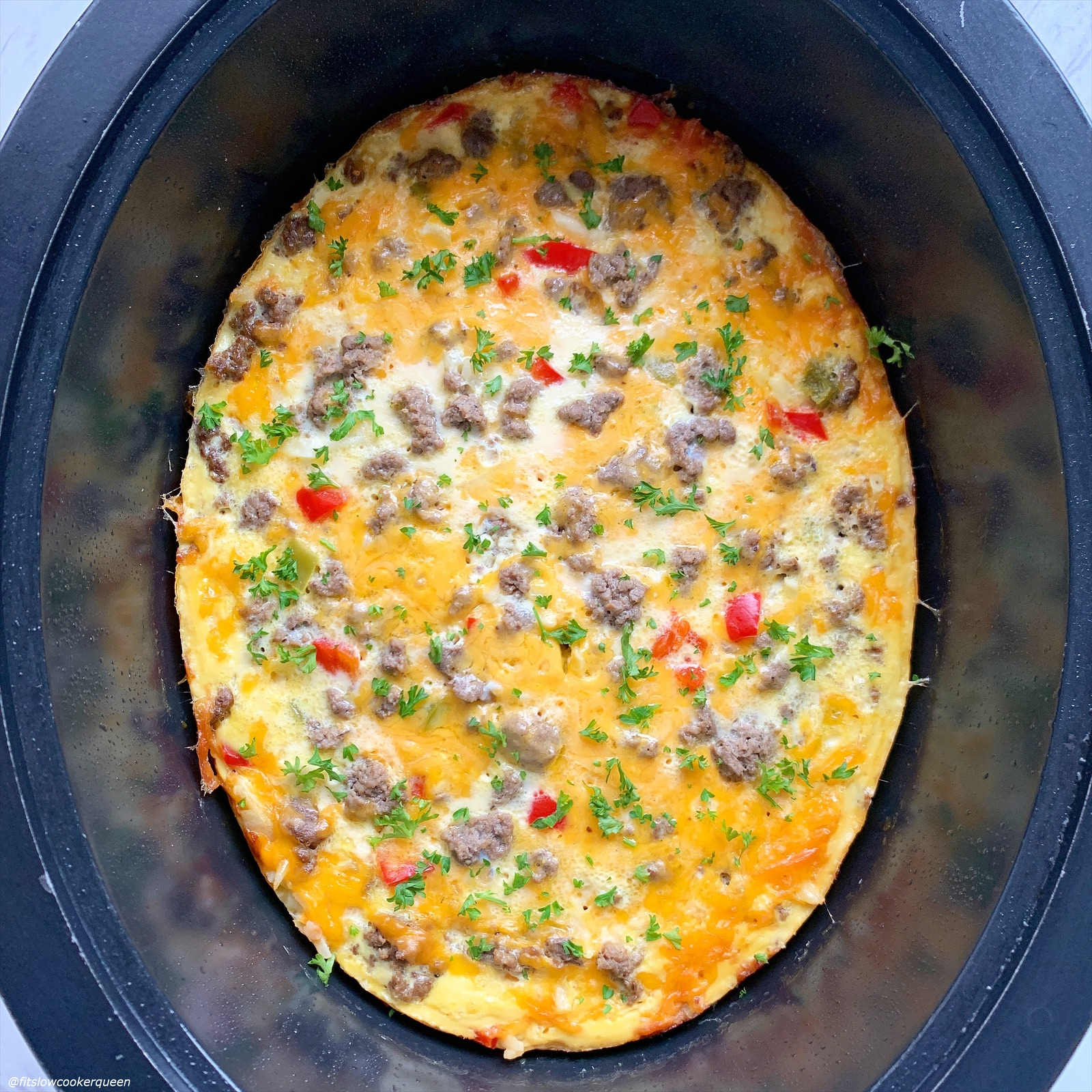 cooled egg casserole in the slow cooker