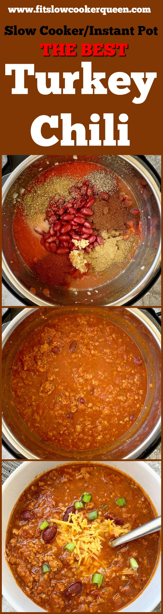 another pinterest pin for {VIDEO} The Best Turkey Chili Recipe (Slow Cooker_Instant Pot)