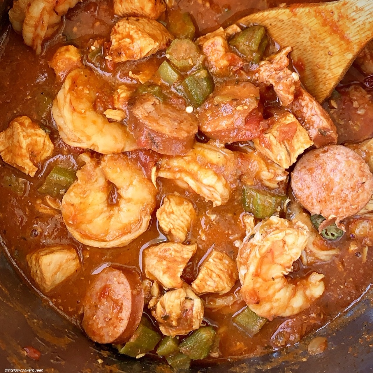 close up of cooked gumbo in the instant pot