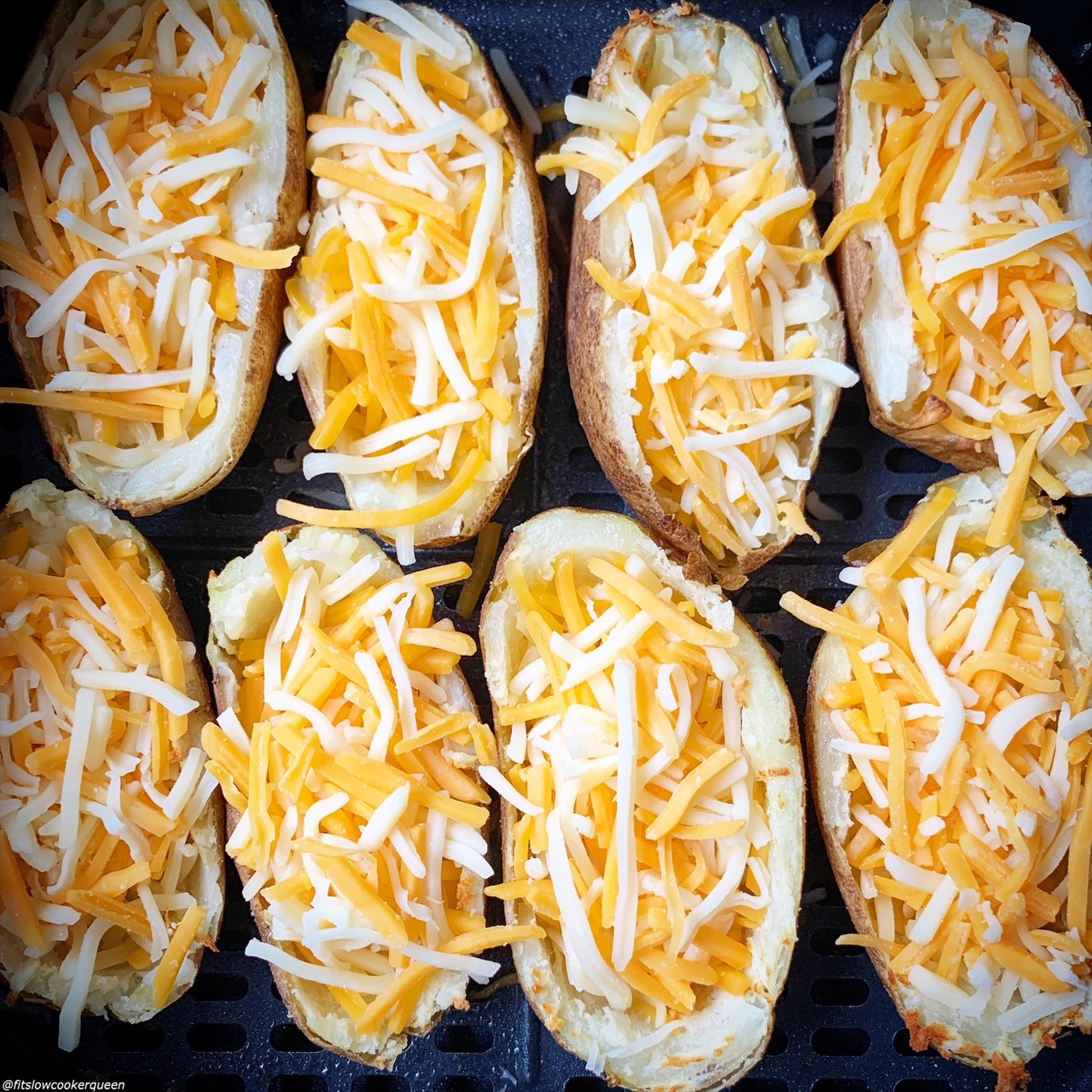 cheese added to potato skins before cooking