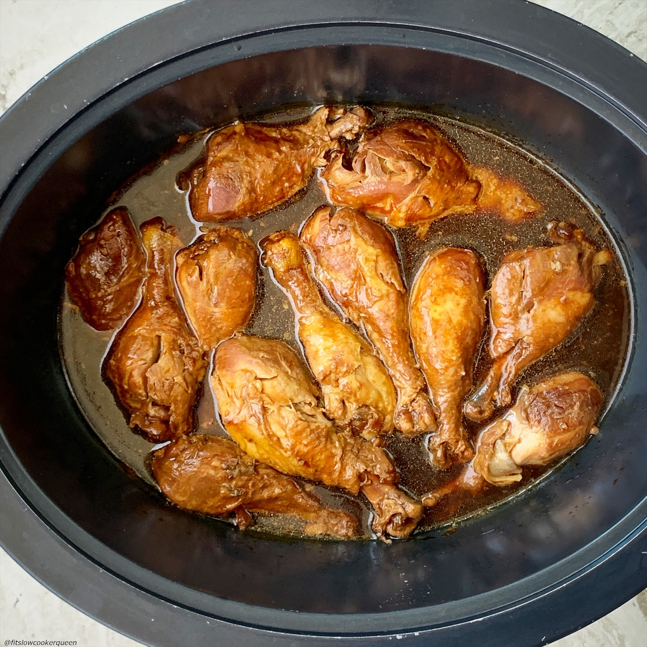 after pic of cooked teriyaki chicken in the slow cooker