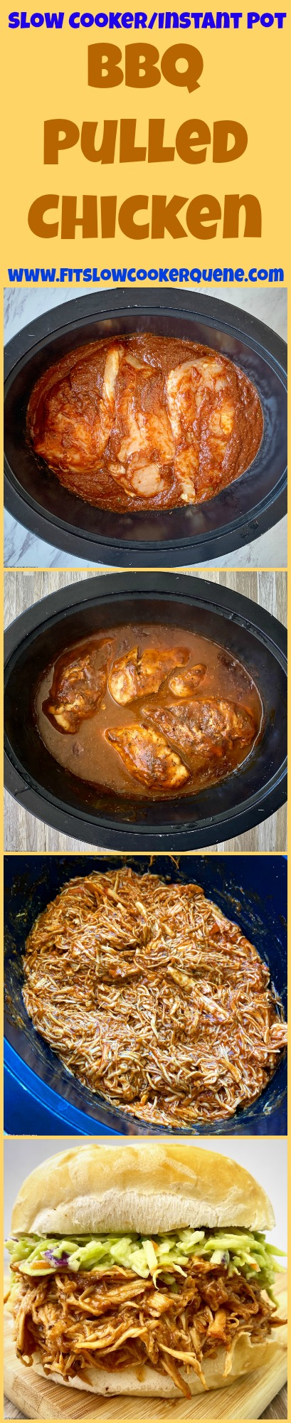 another pinterest pin for {VIDEO} Slow Cooker_Instant Pot BBQ Pulled Chicken (Low-Carb, Paleo, Whole30)