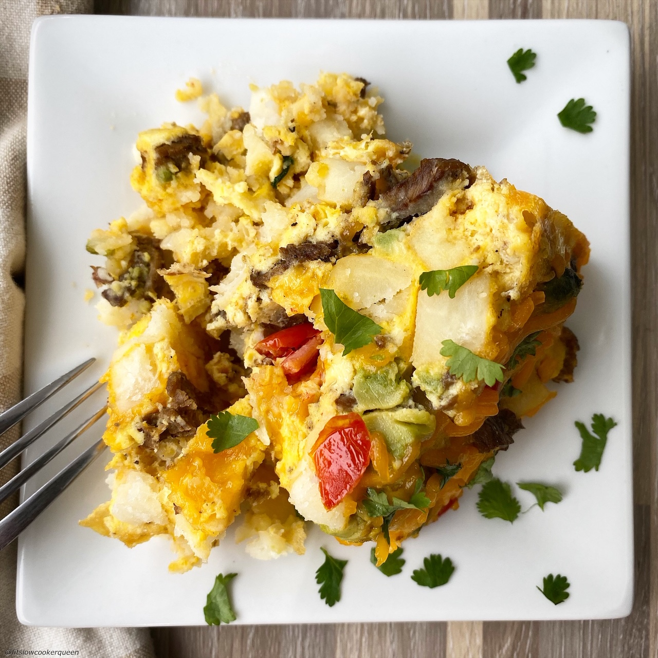 plated Slow Cooker California Burrito Breakfast Casserole