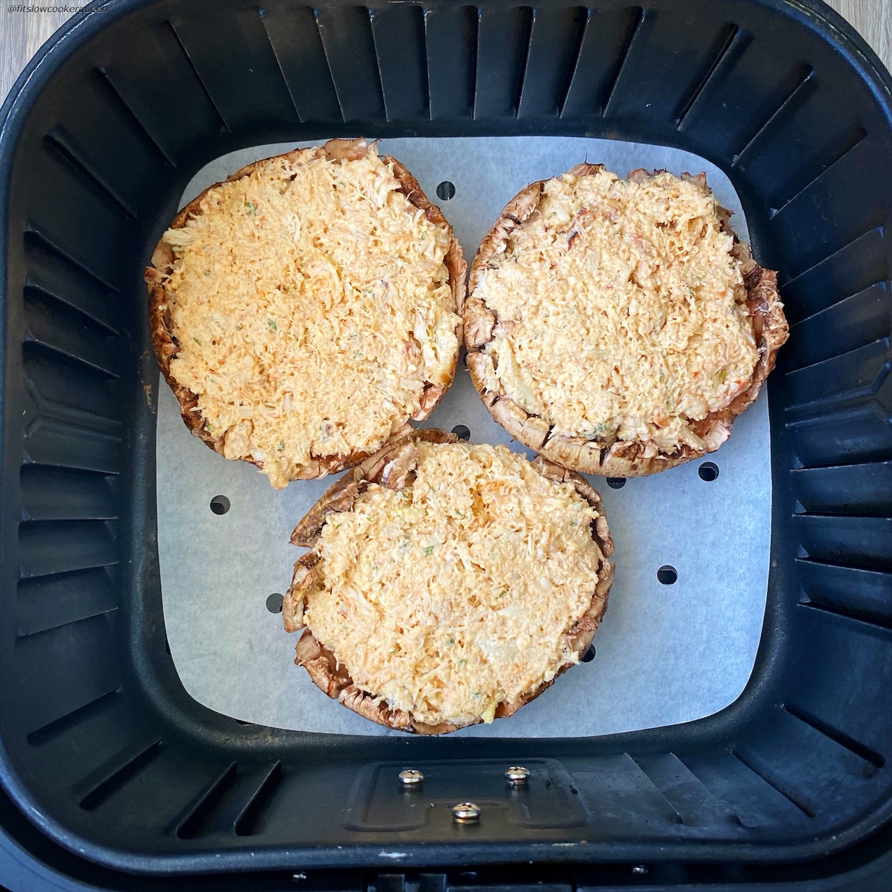 3 large portobello mushrooms in the air fryer