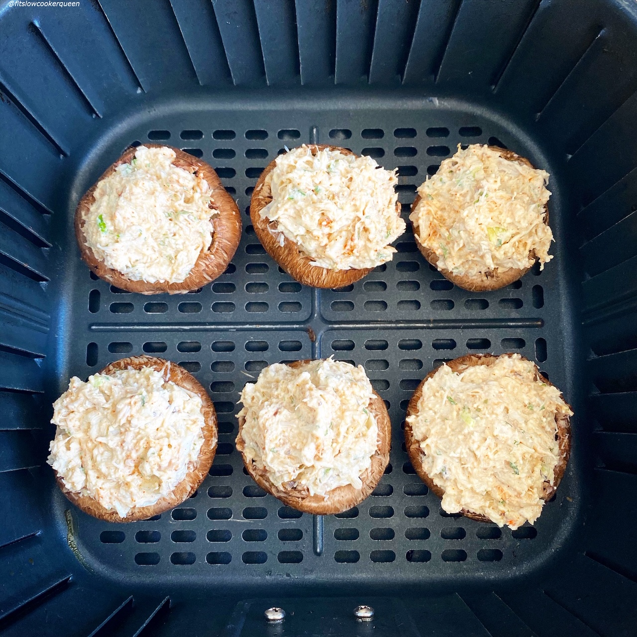 6 uncooked baby portobello crab stuffed mushrooms in the air fryer