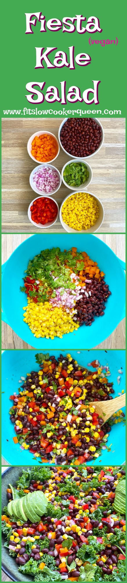 another pinterest pin for {VIDEO} Fiesta Kale Salad (Vegan)