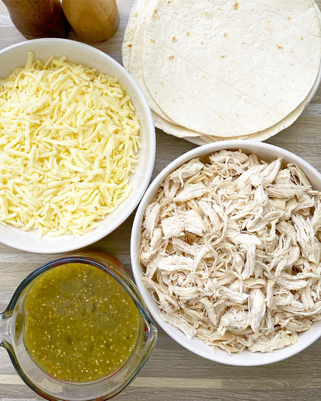 ingredients for {VIDEO} Slow Cooker Salsa Verde Chicken Casserole (Low-Carb) layed out on a table in different bowls