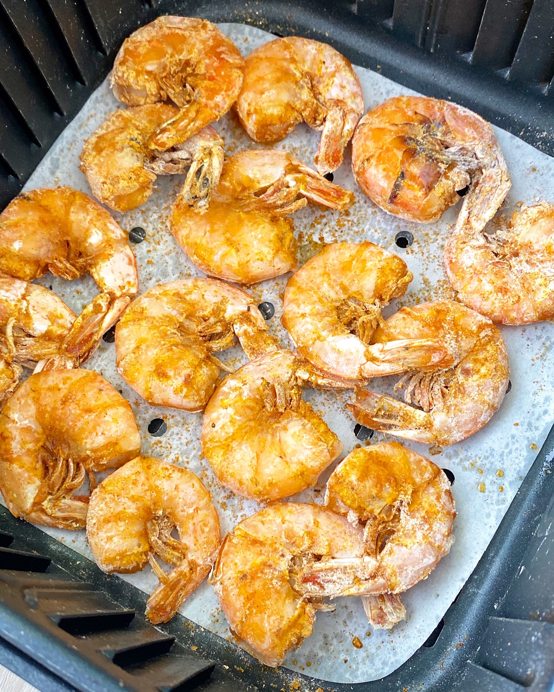 cooked hawaiian shrimp in the air fryer