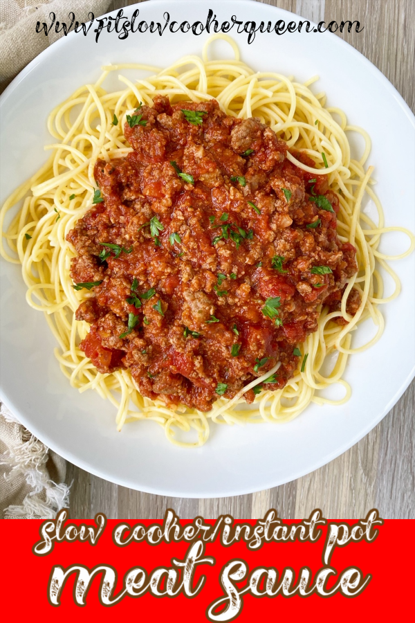 pinterest pin for {VIDEO} Slow Cooker/Instant Pot Meat Sauce (Low-Carb, Paleo, Whole30)