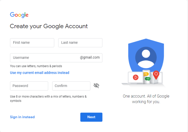 Google Account sign-in page