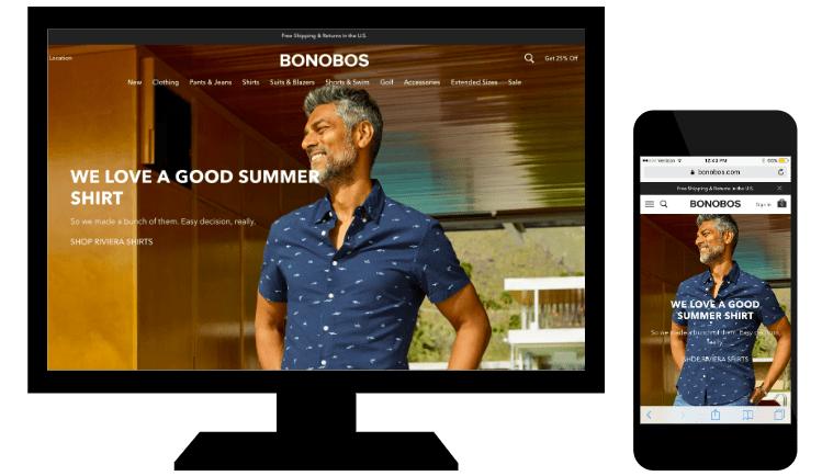 Esempio di responsive web design di Bonobos