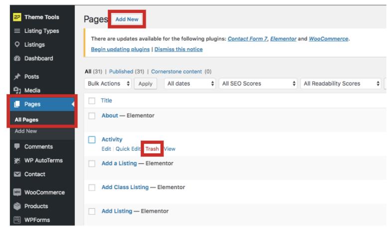 Aggiungi e rimuovi pagine in WordPress.