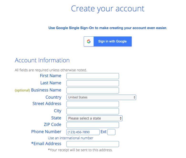 Registrazione per i piani di web hosting Bluehost