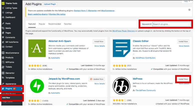 Cerca plugin in WordPress