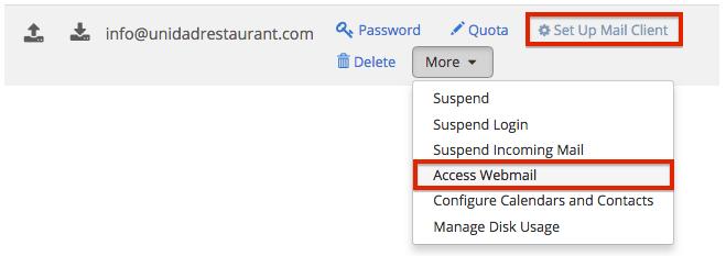 Webmail di accesso alla dashboard di Bluehost
