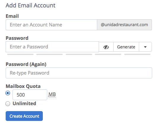 Registrazione e-mail di Bluehost