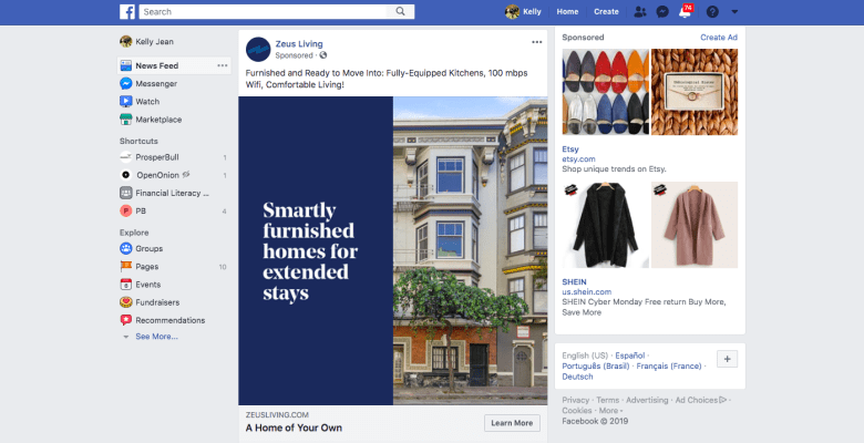 Esempio di annunci di Facebook