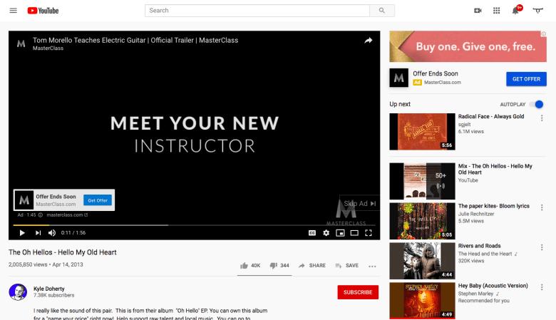 Esempio di annuncio YouTube