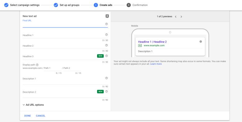 Scrivi un nuovo annuncio Google
