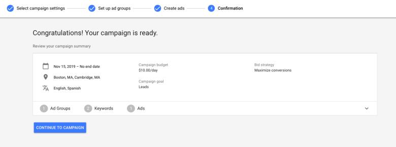 Pagina di conferma annunci Google