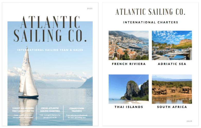 Canva - Esempio di opuscolo di vendita della compagnia di vela