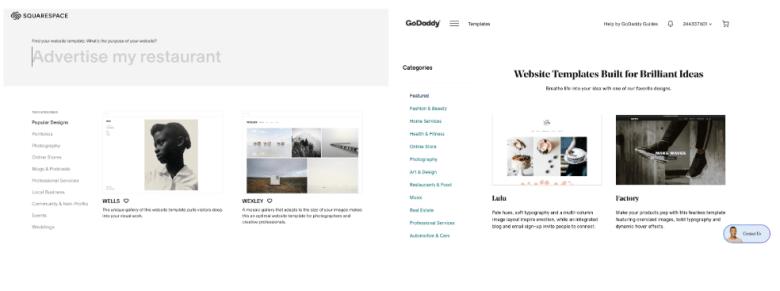 Squarespace vs GoDaddy: selezione modello