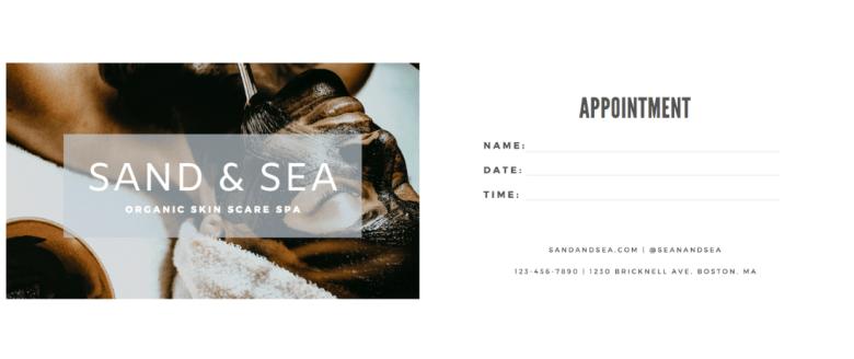 Canva - Esempio di biglietto da visita - Appuntamenti