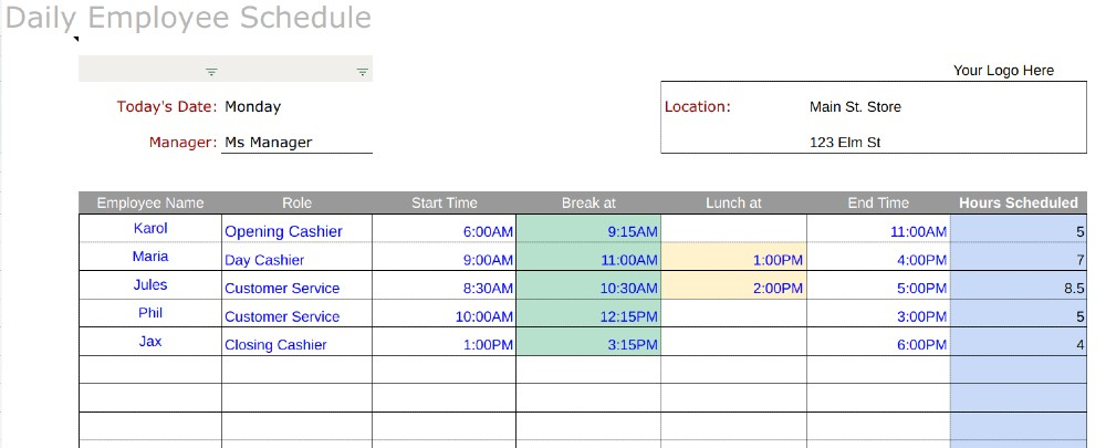 An entire week of worker schedules can be planned with this employee shift schedule for excel. Free Employee Schedule Templates Instructions