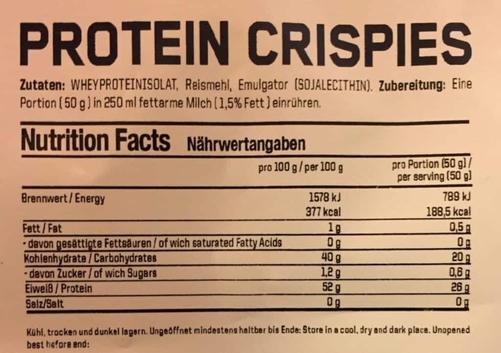 ESN Protein Crispies Nutritional Values