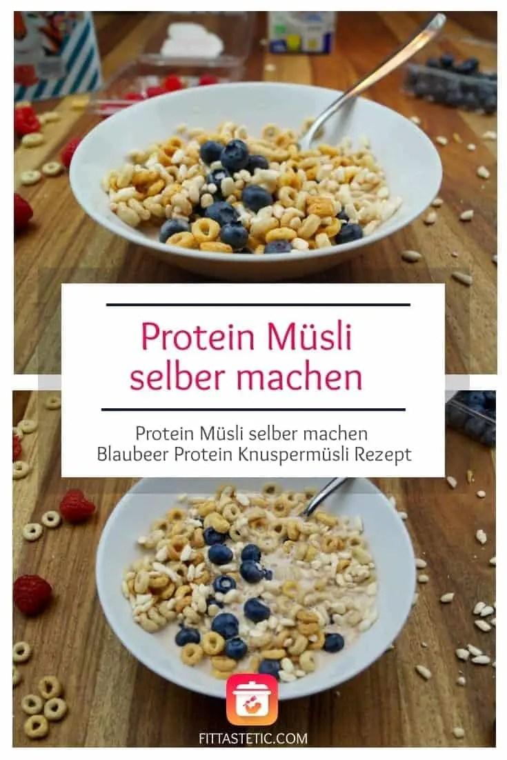 Du liebst Müsli und willst Protein Müsli Selber machen? Dann wirst du dieses Blaubeer Protein Knuspermüsli Rezept einfach lieben! #müsli #protein #blaubeer #gesund #gesunderezepte #frühstück #gesundessen #leckeressen #knuspermüsli #diy #müsliselbermachen