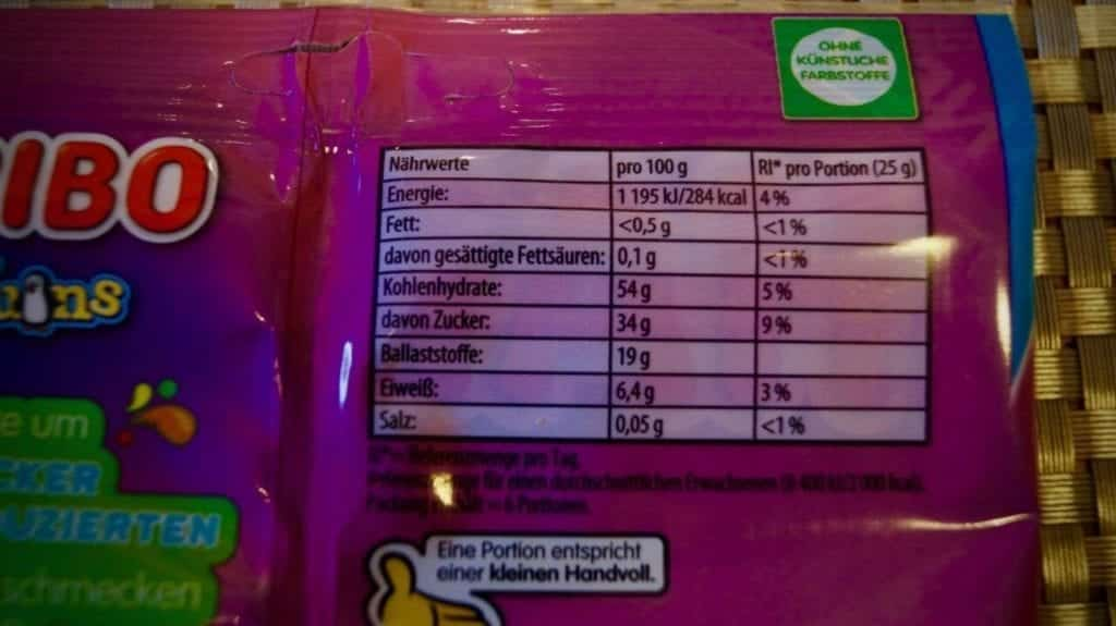 The nutritional values of the new Haribo gummy bears with less sugar