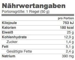 Nährwerten des Aldi Protein Riegels