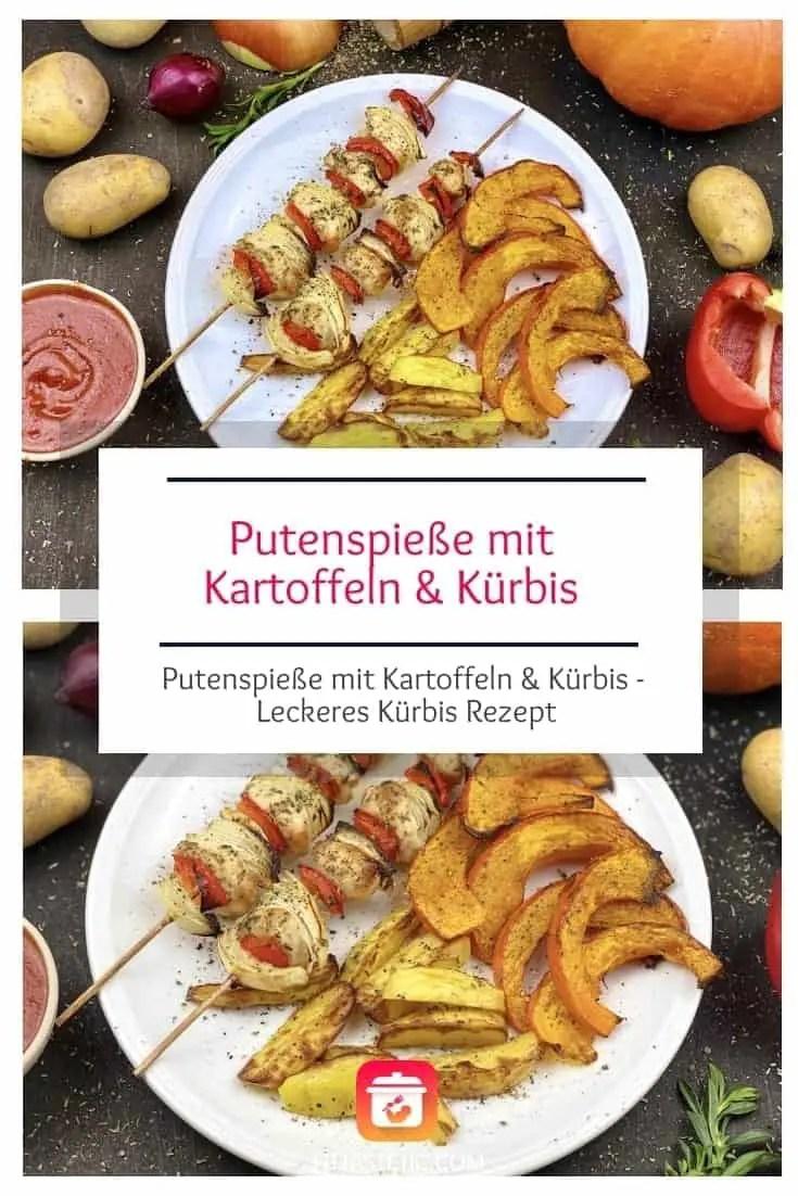 Es ist Kürbiszeit und das bedeutet Zeit für ein leckeres Kürbis Rezept. Mein super gesundes Putenspieße mit Kartoffeln & Kürbis Rezept. #kürbis #lecker #leckererezept #gesunderezepte #gesund #spieße #herbst #kürbiszeit