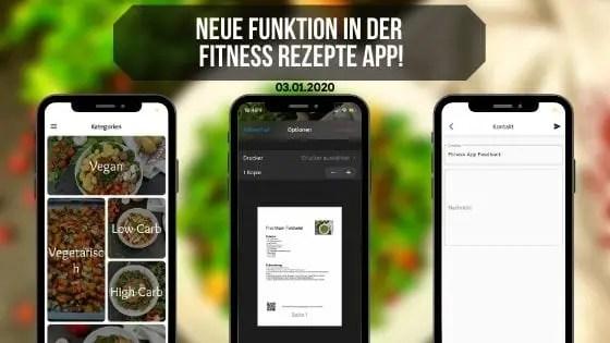 Neue Funktion in der fitness rezepte app