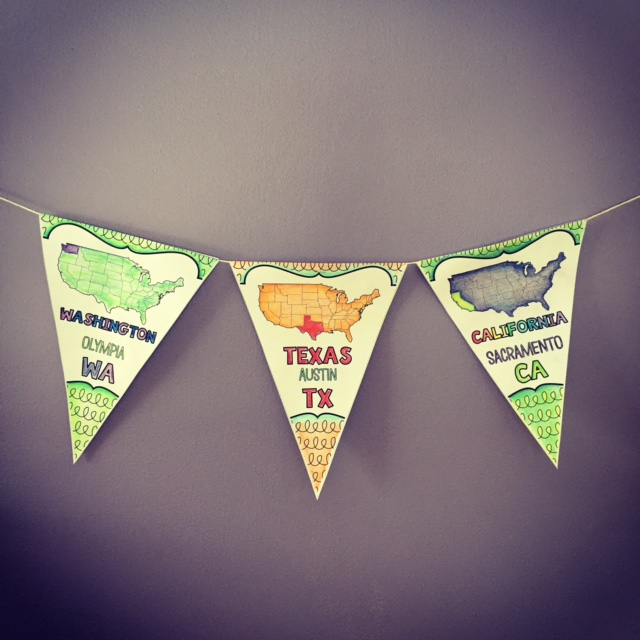Pennants help students learn the states and capitals, plus they're gorgeous!
