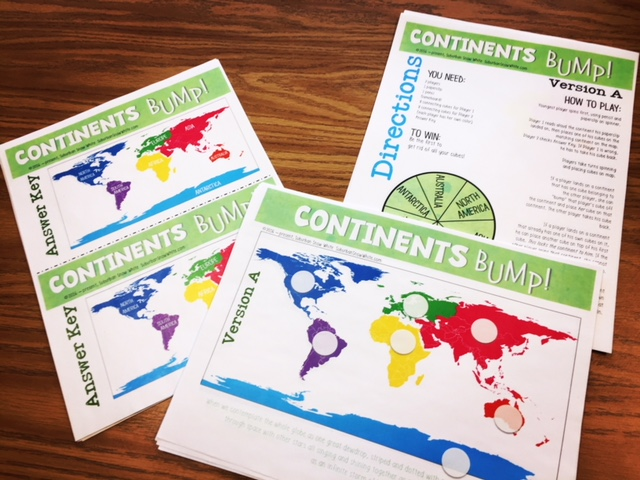 Classroom games like these continent games help kids learn quickly.
