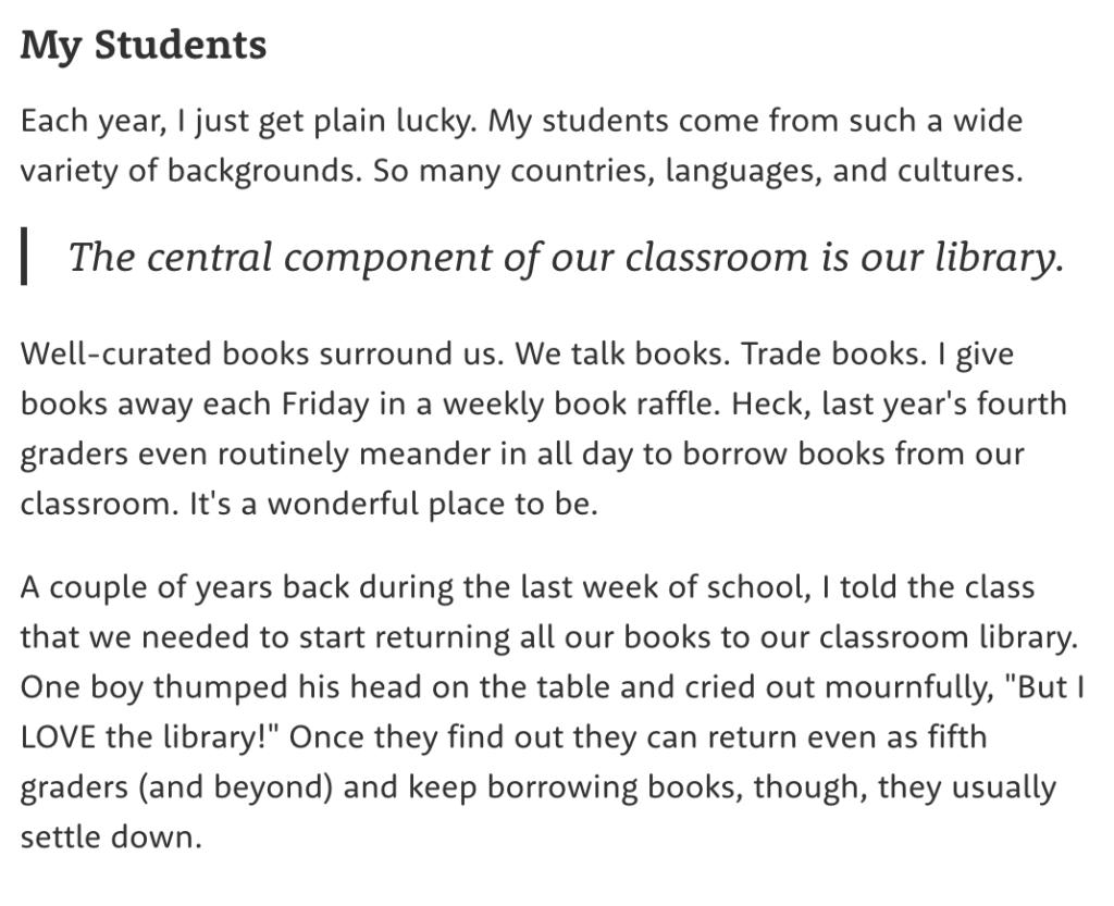 Screenshot of student description for classroom grant.