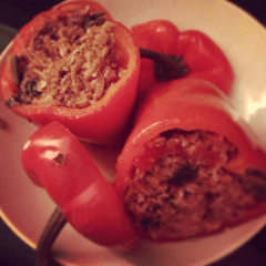 Cinnamon and parsley lamb stuffed peppers