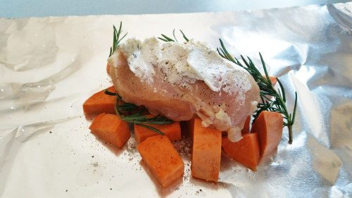 sweet potatoes and chicken in foil
