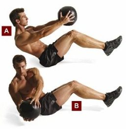 crunches with medicine ball