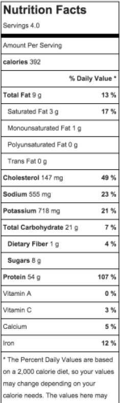 nutrition facts for crock pot cashew chicken
