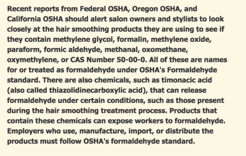 formaldehyde in Brazilian blow outs