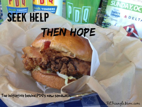 Seek help, then hope. The partnership with PDQ and Angus Barn with The Royal Chicken Sandwich supporting The Foundation of Hope for Mental Illness Research.