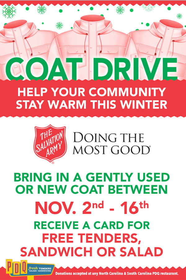 help your community stay warm this winter by donating a gently used a new coat to PDQ. Donations support the Salvation Army